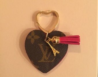 Heart- shaped keychain  upcylced from authentic  Louis Vuitton canvas, red leather, heart split key ring