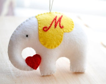 Elephant Ornament - Christmas Ornaments  - Personalized Ornament - Stocking Stuffer - Nursery Decor - Christmas in July - Gifts Under 25