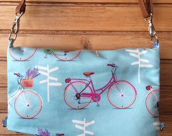 Bicycle Printed Fabric,Canvas Tote, Messenger Bag, Crossbody Bag, Foldover Purse, Mint & Gold