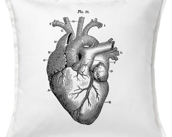 "Mintage Heart Anatomy 20"" x 20"" (50 x 50cm) 100% Cotton Cushion Cover"