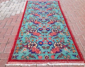 red and turquoise rug etsy. Black Bedroom Furniture Sets. Home Design Ideas