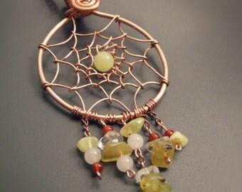 Pendant dream catchers copper and precious stones