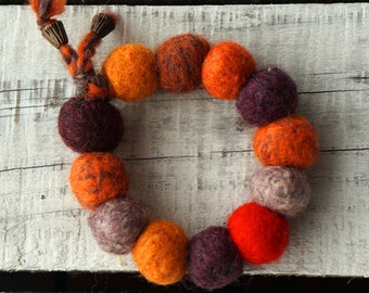 Felted jewelry, felt jewelry, wool jewelry, wool Bracelet, Natural Wool Beads,Fiber Bracelet,Felt Bracelet earth and orange ,Beaded Chunky