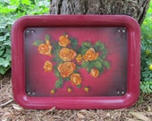 Rose TV Tray Metal Litho Yellow Roses Snack Serving Tray with Legs Retro Breakfast in Bed Gift Collectible Floral Mid Century Decor Art
