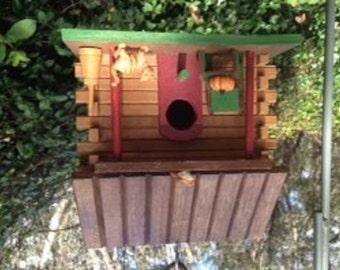 Hand-painted, Log Cabin Bird House