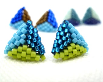 Triangle studs in green & blue or in the colour of your choice! (free shipping)