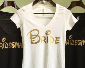 Disney Bride Shirt, Gold, Bachelorette Party Shirts, Disney Bachelorette Party, Bridesmaid Shirts, Bachelorette Weekend, Bridesmaid shirt
