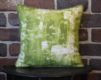 Abstract Pillow - Green & Cream
