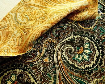 Brown Jacquard Damask Fabric Floral Flower Pattern - 20 inches long X 29,5 inches wide
