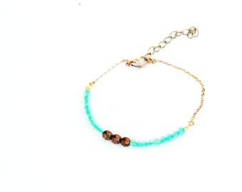 Turquoise Beaded Gold Bracelet