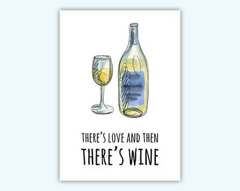 There's love and then there's wine card, break up card, get well soon card for bff, heartbroken card, feel better card, bff greeting card