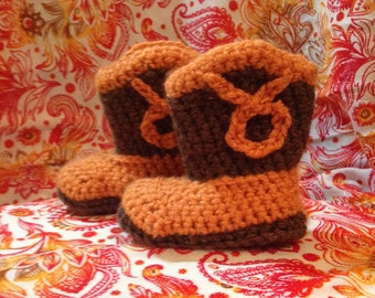 Crocheted baby cowboy booties