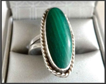 VINTAGE ring silver & Malachite Green / ring 70
