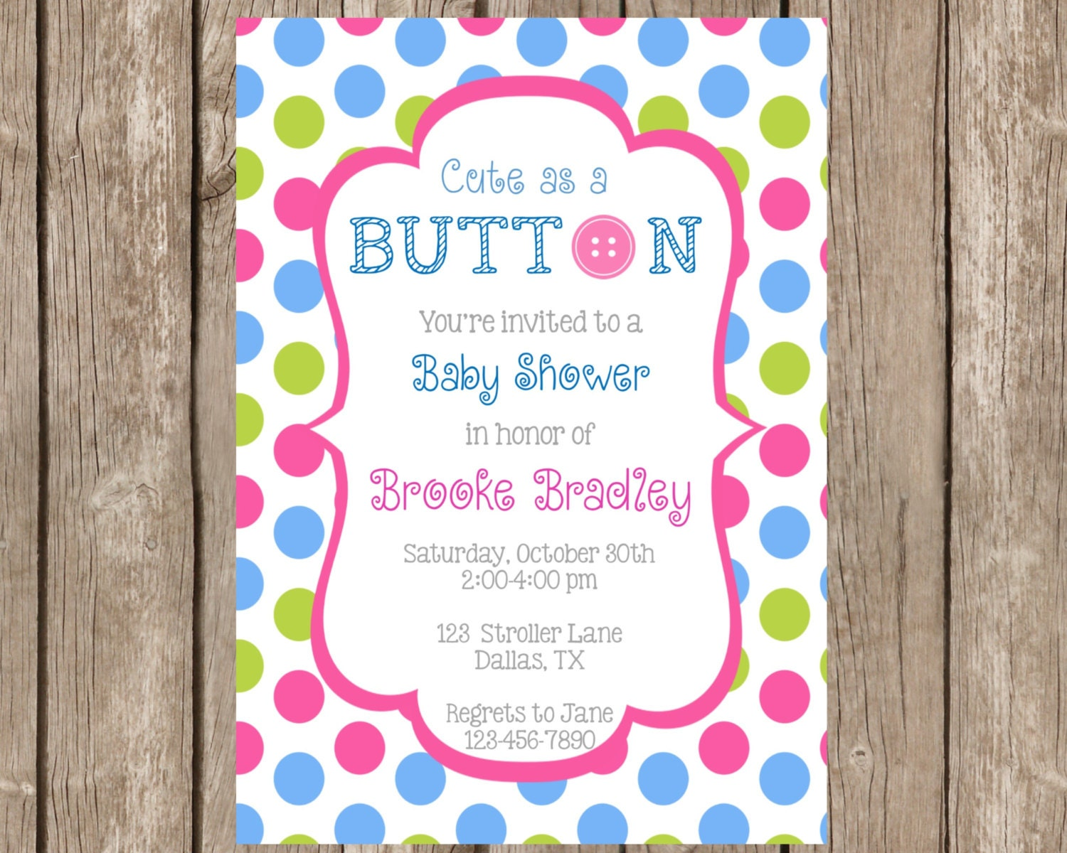 cute as a button baby shower invitation baby by partyoninvites