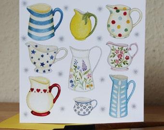 Jugs Blank Square Greetings Card, Kitchenalia Card, ideal Birthday, Anniversary, Thank You, Notecard