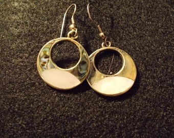 Vintage Silver Tone Mexican Abalone and Mother of Pearl Dangle Earrings  J371