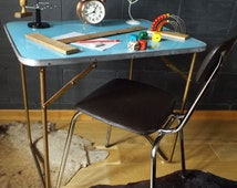 LAFUMA vintage table / small table formica and old metal / camping vintage furniture / Decor camping / child furniture