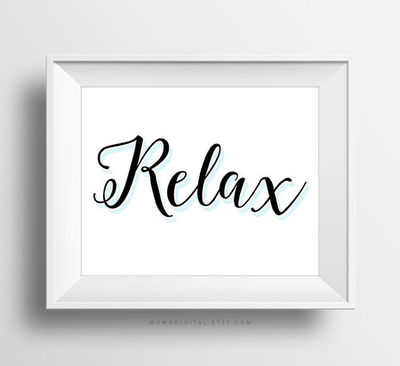 Sale relax modern calligraphy typography art print guest