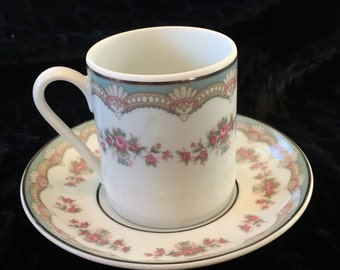 Leart, Brazil Demitasse Cup and Saucer  Pink and Blue floral print  with Gold trim 1950s