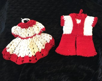 1950s Crocheted  Red and White Dress and Knickers Pot holders