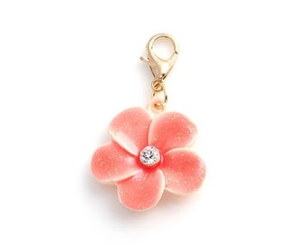 Pink Plumeria Flower Dangling Charm with Rhinestone Floating Locket Living Memory Lockets Jewelry Making Supplies - 64h