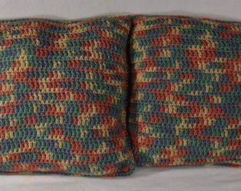 Handmade Crochet 2pc Decorative Pillows Multi-Color Home Decoration, Decorative Pillows