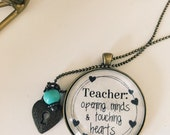 """Teacher Gift Necklace- """"Opening Minds & Touching Hearts"""" - Vintage Brass or Antique Silver Option"""