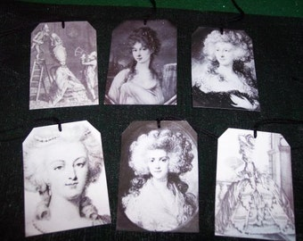 Vintage Marie Antoinette Black & White Hang Tags / Gift Tags