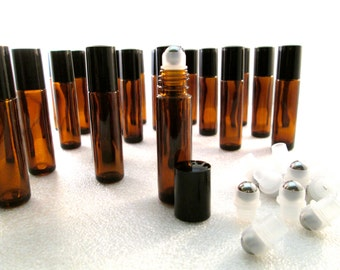 10 Pc Set- Amber 10ml bottles! U choose Plastic/Glass/Stainless Steel ROLL-ON! UV-Protective Perfume Oils Container