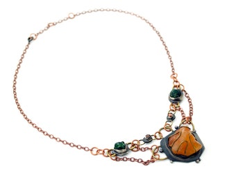 Handmade Autumn Necklace with Copper Chain /  Tourmaline Jewelry / Art Jewelry / Gift for Her / Contemporary Jewelry / Unique Necklace