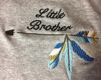 Little Brother with Arrow and Feathers Onesie