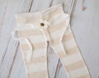 RTS..Cream Stripe Newborn Baby Girl Photo Pant and Headband Set.  Set includes pant and Daisy headband.