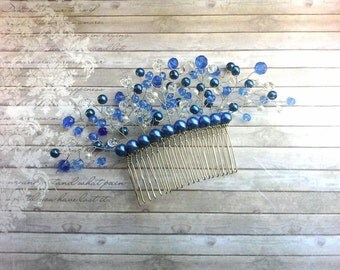 Bridal hair comb Wedding hair headpiece Bridal beaded blue headwear Pearl wedding hair accessories Ceramic beads Summer jewelry Wedding comb