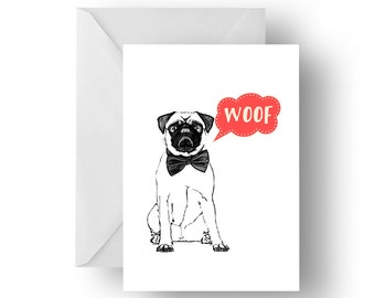 Pug Talk blank greeting card- Pug greeting card, dog card, Pug birthday card, dog greeting card, Birthday card