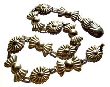 VINTAGE: Mexican Stamped Metal Linked Bow Conch Belt - Made in Mexico - Metal Belt