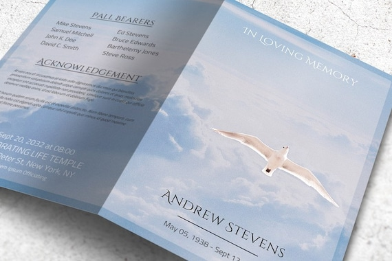 freedom in heaven funeral program template editable with