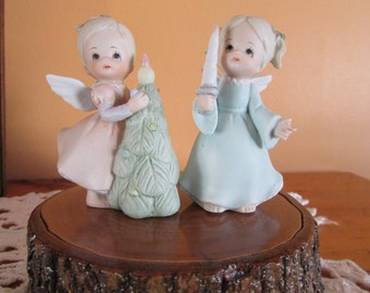 LEFTON 1983 2 Angels with candle and tree