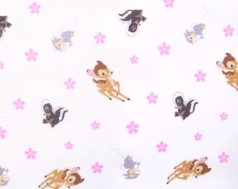 Disney Bambi Woodland Dreams Fabric toss- Pink and Brown Bambi fabric-Thumper and Flower