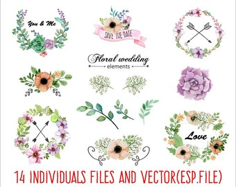 Floral wedding ornaments Clipart, Digital Download ,Quotes Scrapbooking, Supplies,Vectors files ,Personal Use