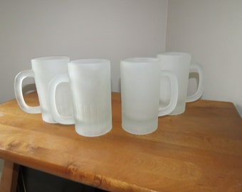 A Set of 4 Retro Frosted Glass Mugs