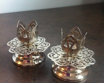 Vintage Candle Holders - Silver Tone Pierced Metal - Intricately Detailed Candle Stick Holders - Hostess Gift