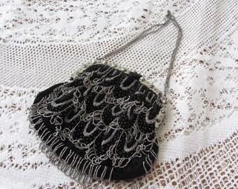 Pouch evening bag purse bag velvet and Pearl metal vintage - 12006