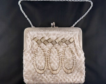 Vintage Cream-colored beaded evening bag