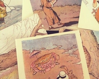 Set of 10 Aesop's Fables upcycled book blank cards w/envelopes