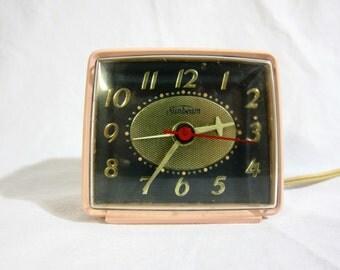 Sunbeam Small Pink Electric Alarm Clock 1963