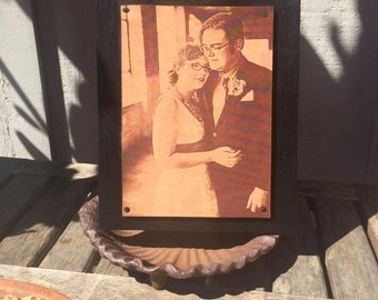 LEATHER ENGRAVING, Third Wedding Anniversary Gift, custom photo engraved on to leather,