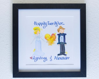 Name Painting - 10x10 Happily Ever After Themed Framed Customized Artwork