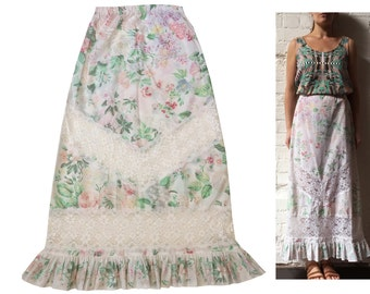 Cotton Floral Maxi Skirt Lace Cutout Ruffle