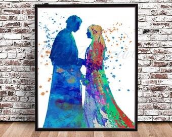 Princess Padme Amidala Anakin Skywalker Wedding Watercolor Print Star Wars art painting poster print print phantom menace force Darth Vader