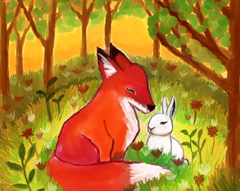 Fox rabbit nursery print